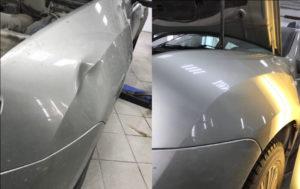 Удаление вмятины без покраски -до и после